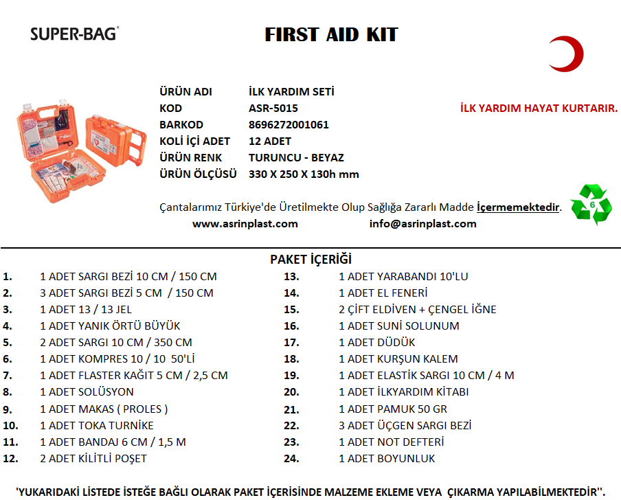 İlk Yardım Seti  ASR-5015