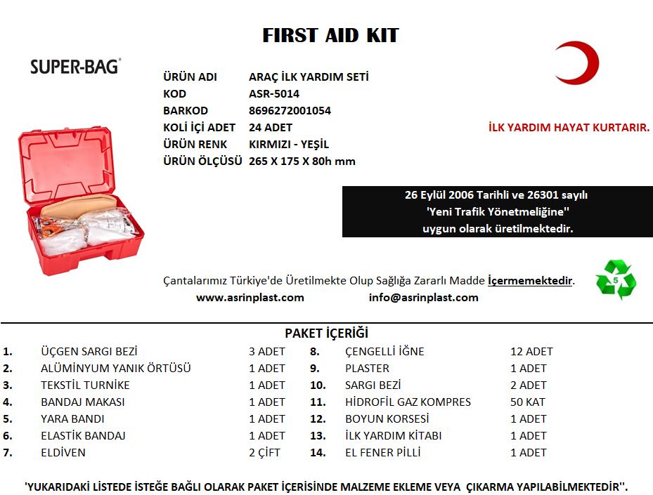Araç İlk Yardım Seti -ASR 5014