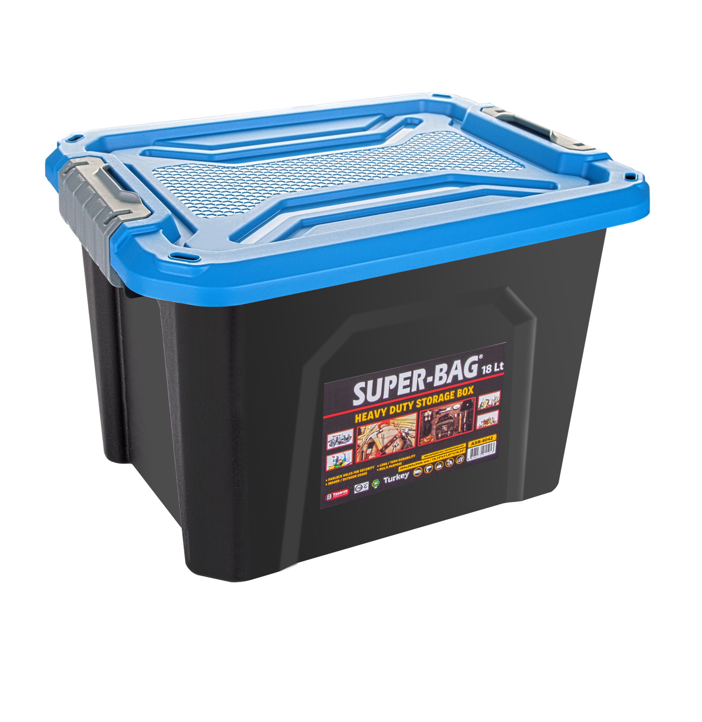 ASR-4042 Superbag Saklama Kutusu Renkli Kapak 18 LT