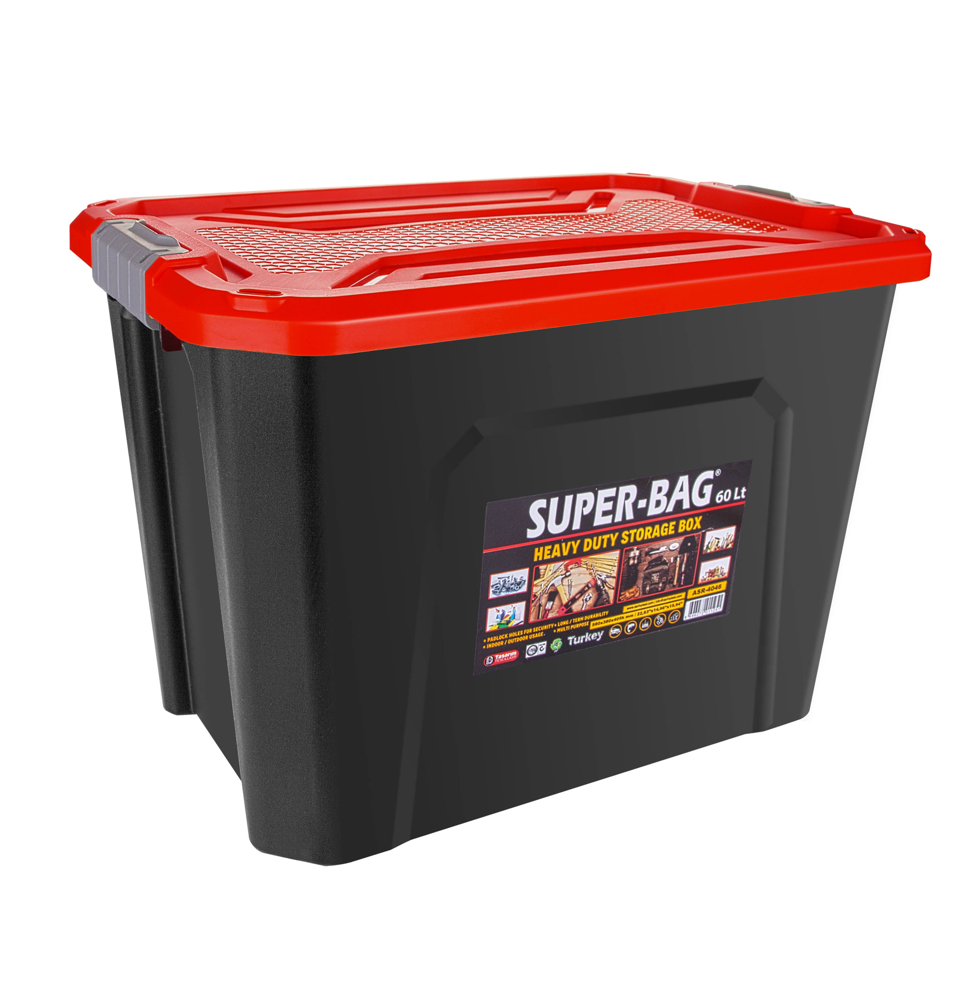 ASR-4046 Superbag Saklama Kutusu Renkli Kapak 60 LT